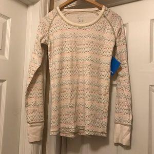 COLUMBIA pastel patterned waffle shirt